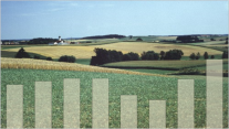Photo Agrarlandschaft mit Balkengrafik